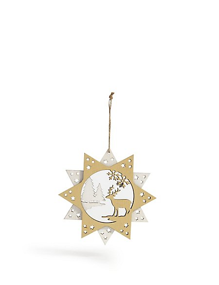 Wooden Star & Stag Bauble