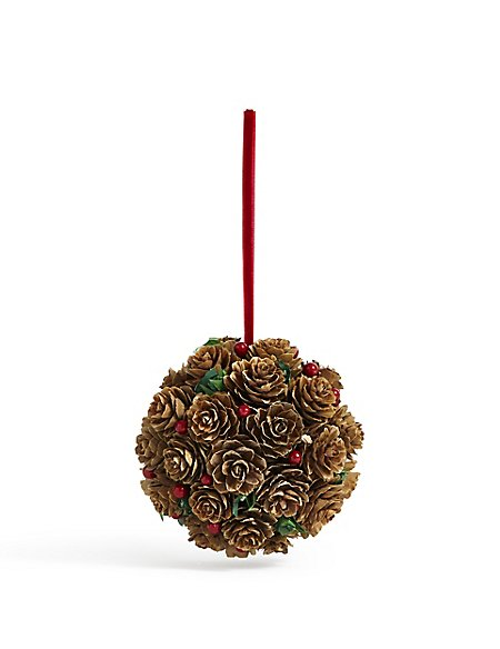 Pinecone & Holly Bauble