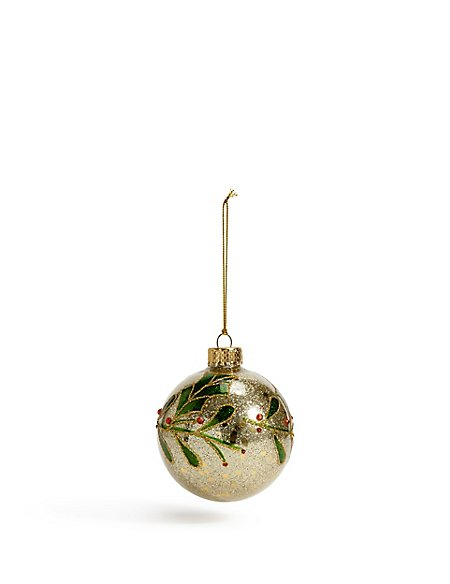 Gold Glitter Holly Bauble