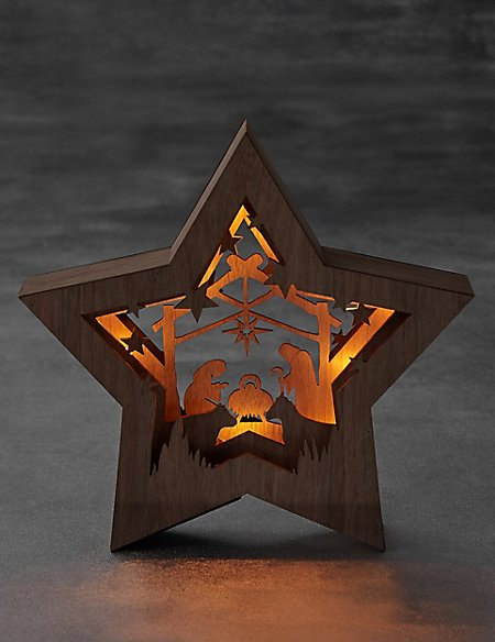 Lit Wooden Nativity Star