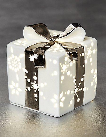 Lit White Ceramic Gift Box