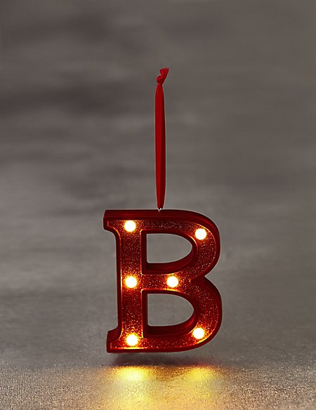 Red Letter B LED Bauble