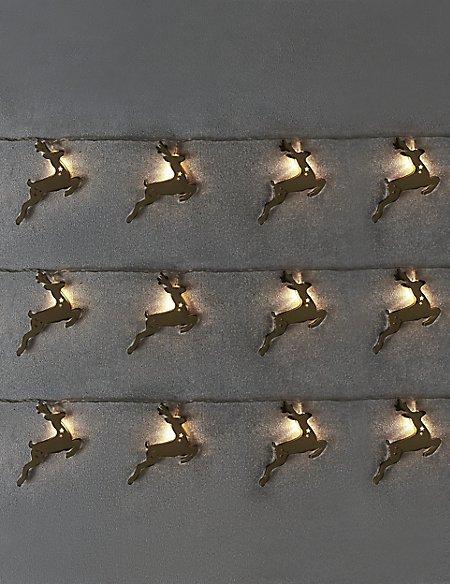 Gold Metal Reindeer Lights