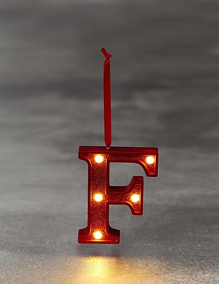 Red Letter F LED Bauble