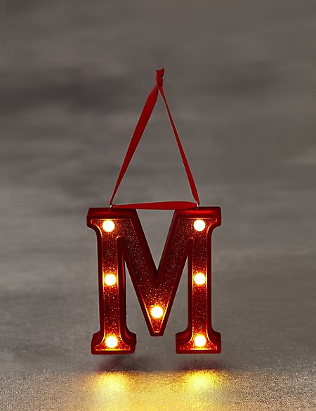 Red Letter M LED Bauble