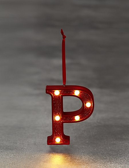 Red Letter P LED Bauble