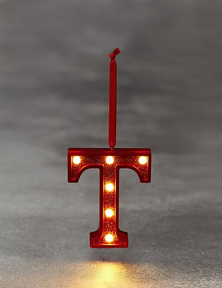 Red Letter T LED Bauble