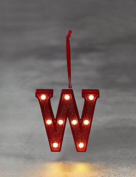 Red Letter W LED Bauble