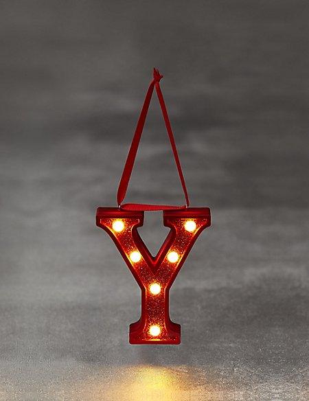 Red Letter Y LED Bauble