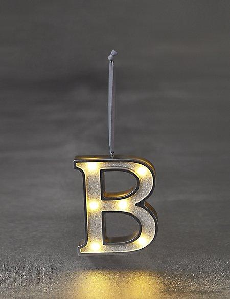 White Letter B LED Bauble