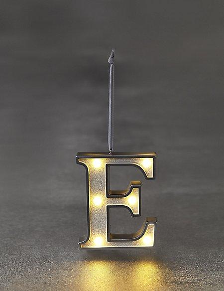 White Letter E LED Bauble