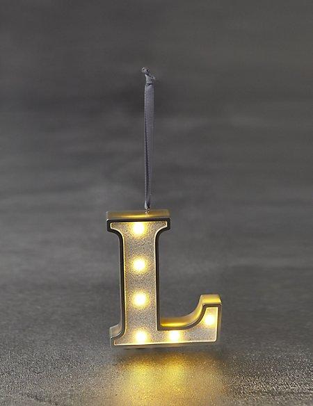 White Letter L LED Bauble