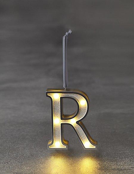 White Letter R LED Bauble