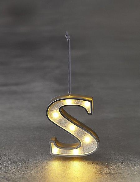 White Letter S LED Bauble