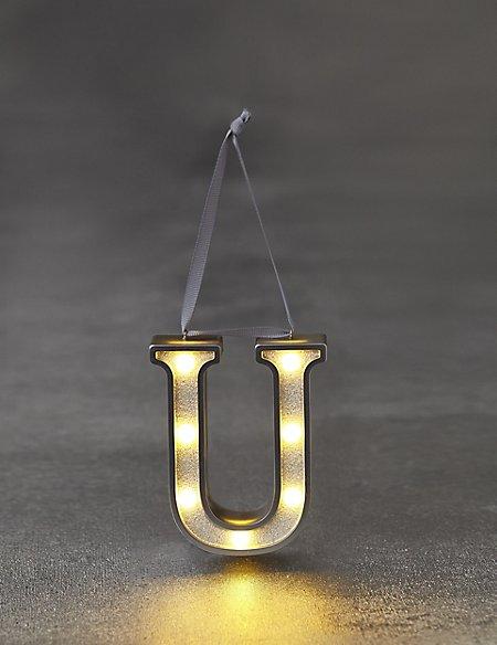 White Letter U LED Bauble