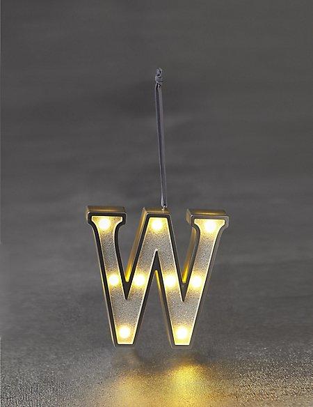 White Letter W LED Bauble