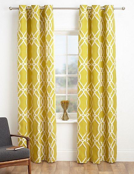 Geometric Jacquard Eyelet Curtains M Amp S