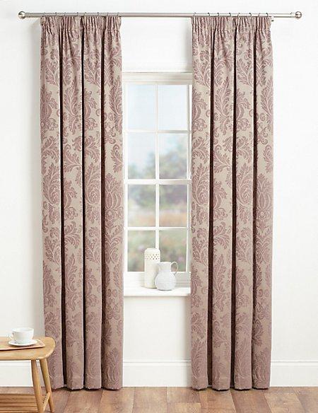 Elegant Damask Pencil Pleat Curtains