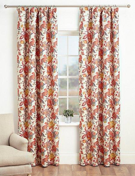 Bright Floral Pencil Pleat Curtains