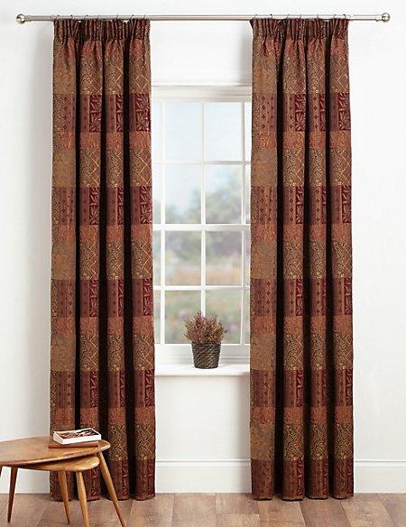 Patch Jacquard Pencil Pleat Curtains