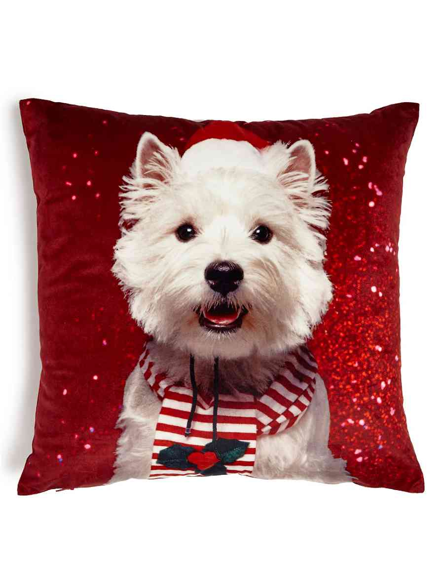 Christmas Westie Cushion | M&S
