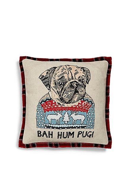 Mini Embroidered Pug Cushion