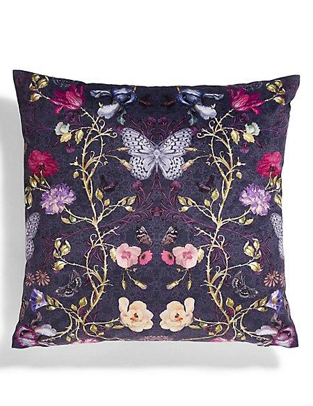 Midnight Butterfly Print Cushion