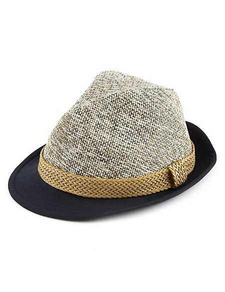 Two Tone Contrast Wide Brim Trilby Hat