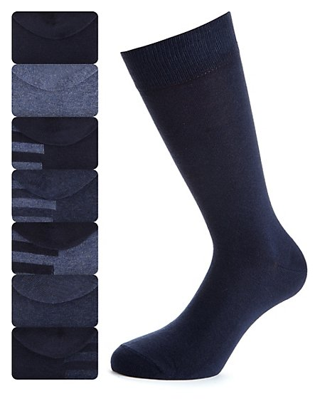 7 Pairs of Cotton Rich Freshfeet™ Striped Sole Socks with Silver Technology