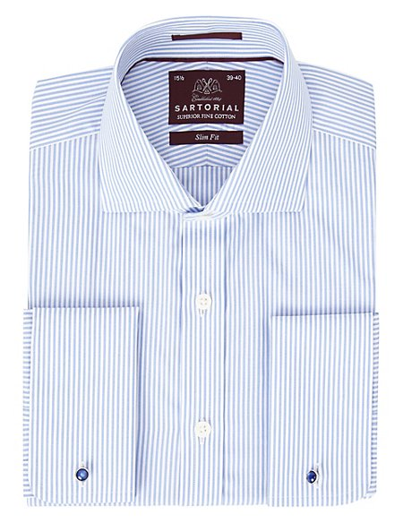 Pure Cotton Slim Fit Bengal Striped Shirt