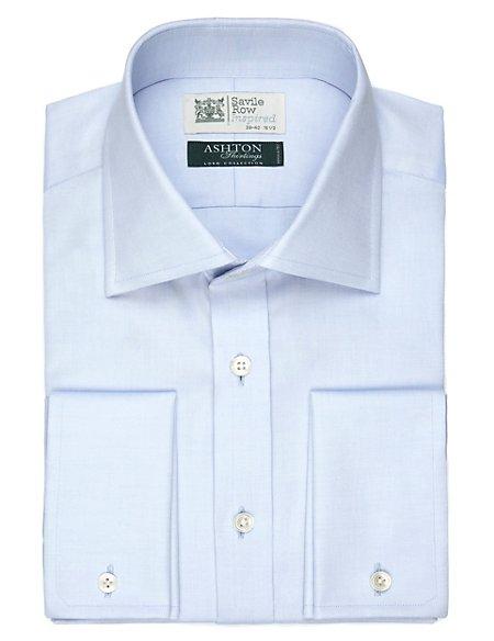 Pure Cotton Cutaway Collar Oxford Weave Shirt