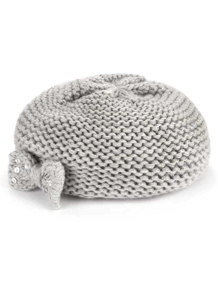 Sequin Embellished Bow Knitted Beret Hat | M&S