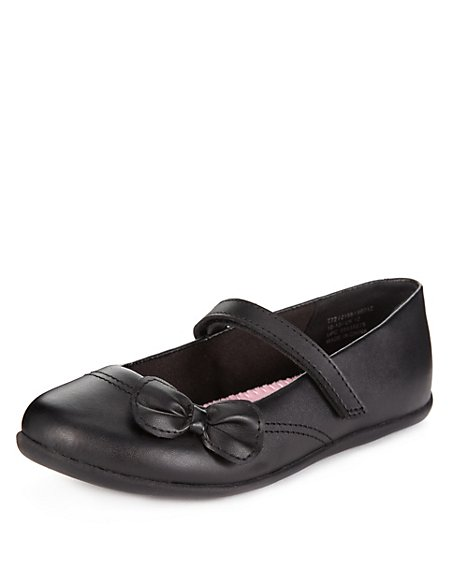 Wide Fit Coated Leather Bow Shoes (Younger Girls)