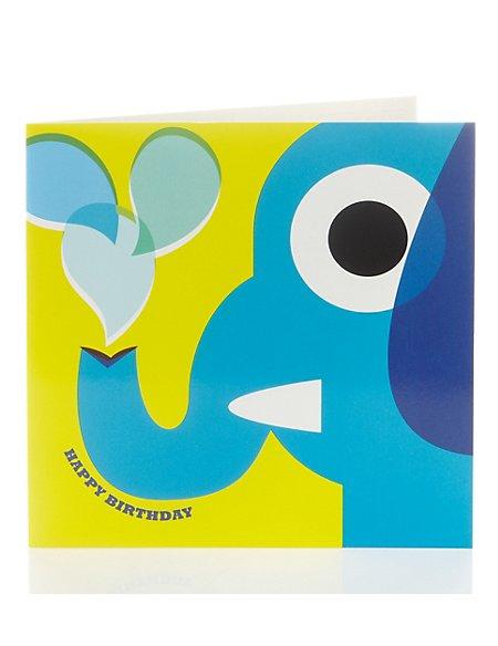 Bright Elephant Birthday Card for Kids