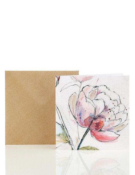 Classic Peony Blank Card
