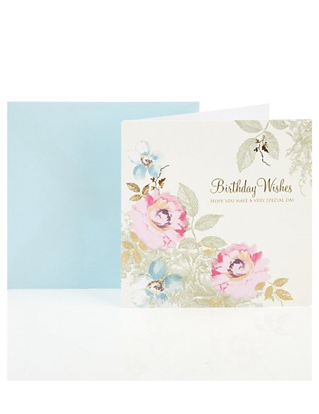 Floral Birthday Wishes Greetings Card