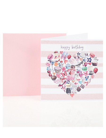 Heart Objects Birthday Greetings Card