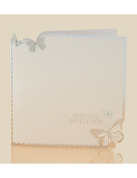 6 Aqua Butterfly Evening Invitations