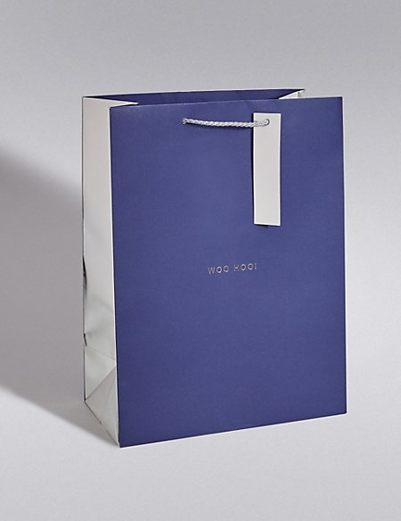 Navy & Silver Large Gift Bag