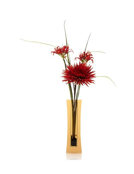 Artificial Red Exotic in Glass Vase