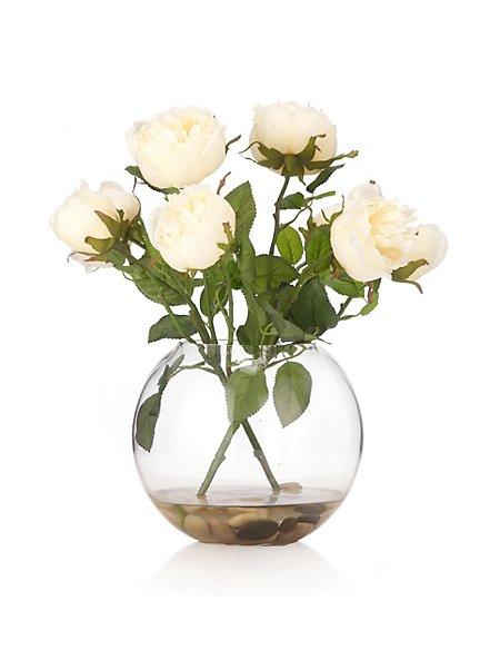Artificial Roses in Fish Bowl