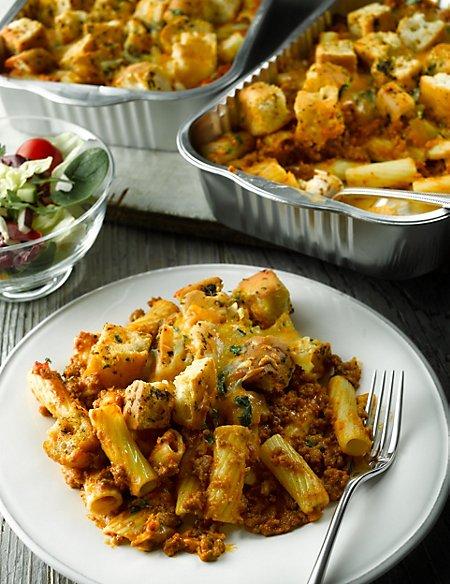 Rich Beef Bolognese Pasta and Focaccia Crostoni
