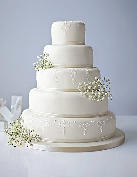 5 Tier Ivory Embroidered Lace Cake (Available to order until 31st January 2017)