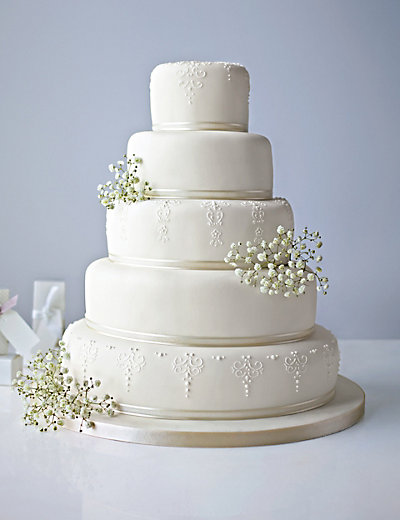 5 tier wedding cake 5 tier ivory embroidered lace cake m amp s 10462