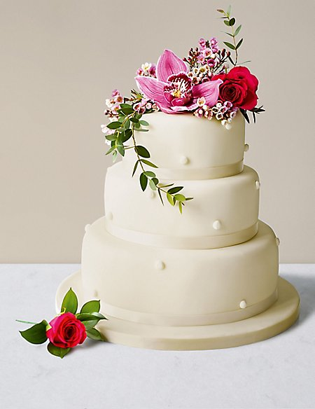 Romantic Pearl Wedding Cake with Ivory Icing - Fruit (Serves 160)