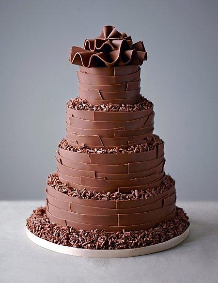 Milk Chocolate Ribbons Wedding Cake