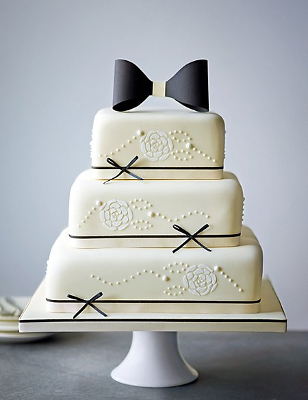 Black & Ivory Sponge Wedding Cake (Available to order until 31st January 2017)