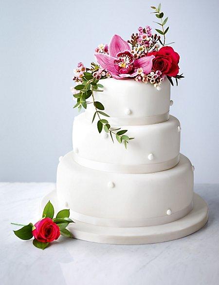 Romantic Pearl Gluten Free Fruit Wedding Cake (White Icing)