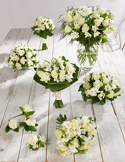 white bouquets for weddings white amp freesia wedding flowers collection 4 m amp s 1303
