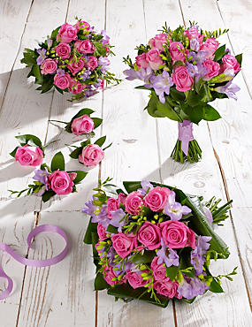 Pink & Lilac Rose & Freesia Wedding Flowers - Collection 2
